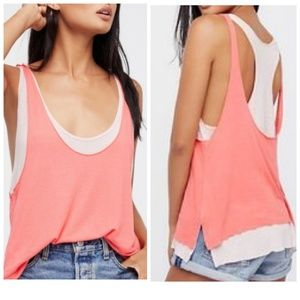 We The Free people Karmen pink coral layered top M